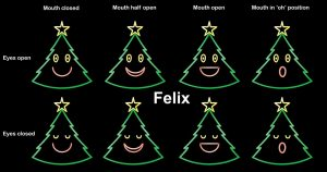 Felix the singing Christmas Tree, all mouth movements.