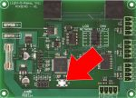 Pixie 4 Smart Pixel Controller. Arrow points to Reset/Test button.