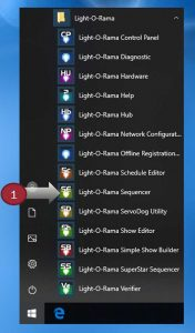 Look in the Windows Start menu for Light-O-Rama Sequencer