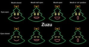 Zuzu the singing Christmas Tree, all mouth movements.