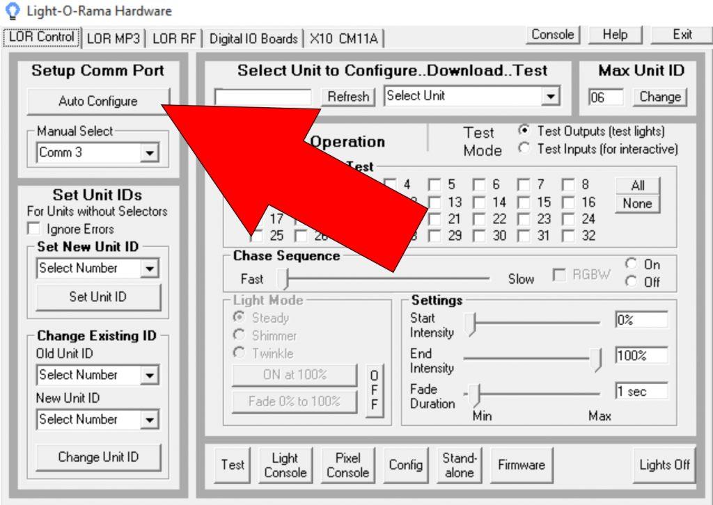 Light-O-Rama Hardware Utility Auto-Configure button