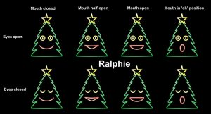 Ralphie the singing Christmas Tree, all mouth movements.